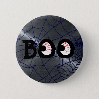 Gray and Black Halloween Boo Eyeballs Button