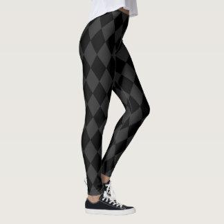 Gray and Black Harlequin Pattern Leggings