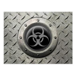 Gray and Black Industrial Biohazard Steel Effect Postcards