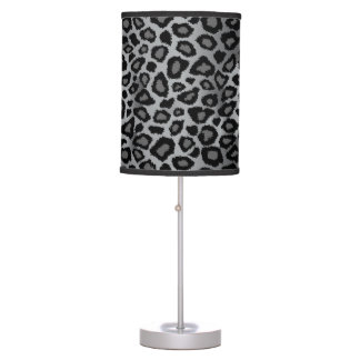 Gray and Black Leopard Animal Print Table Lamp