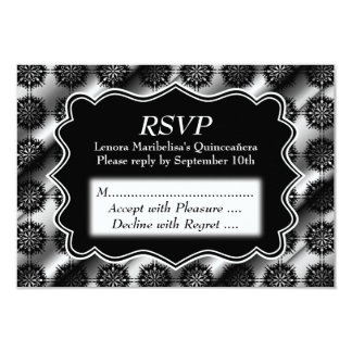"Gray and Black Pattern Print Quinceanera 3.5"" X 5"" Invitation Card"