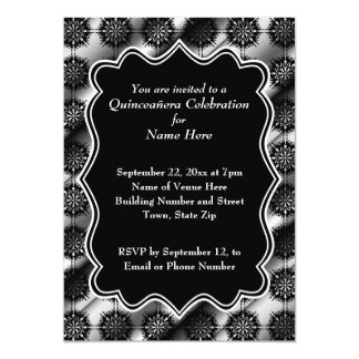 """Gray and Black Pattern Print Quinceanera 5"""" X 7"""" Invitation Card"""