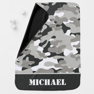 Gray and Black Snow Camouflage | Personalized Baby Blanket