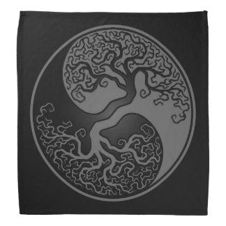 Gray and Black Tree of Life Yin Yang Bandana