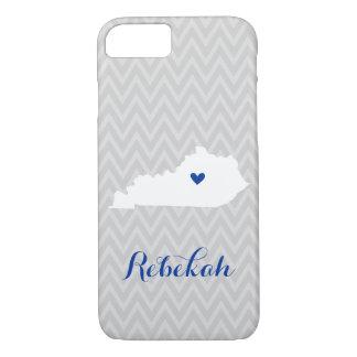 Gray and Blue Cute Kentucky Love Chevron Monogram iPhone 8/7 Case