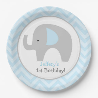 Gray and Blue Mod Elephant Chevron Birthday Plate 9 Inch Paper Plate