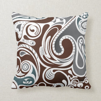 Gray and Brown Abstract Throw Pillow