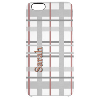 Gray and Burgundy Plaid Clear iPhone Case