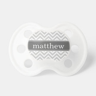 Gray and Charcoal Chevron Monogram Pacifier