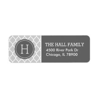 Gray and Charcoal Quatrefoil Monogram