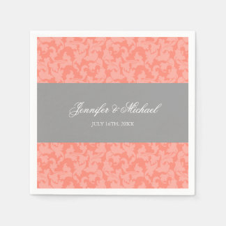 Gray and Coral Damask Swirl Wedding Personalized Paper Napkins