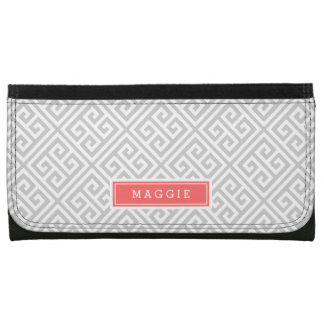 Gray and Coral Greek Key Monogram Wallet