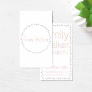 Gray and Coral Laurel Vine Business Card