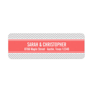 Gray and Coral Modern Chevron Return Address Label