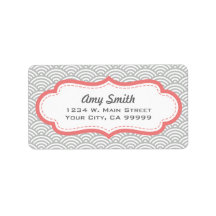 Gray and Coral Pink Asian Pattern Labels