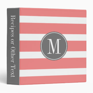 Gray and Coral Striped Pattern with Monogram Vinyl Binder