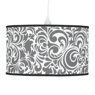 GRAY AND CREAM SWIRL DESIGN PENDANT LAMP