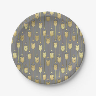 Gray and Faux Gold Arrows Pattern Paper Plate