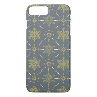 Gray and Gold Snowflakes Christmas Pattern iPhone 8 Plus/7 Plus Case