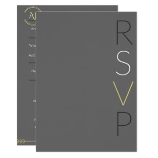 """Gray And Gold"" Wedding RSVP Card"