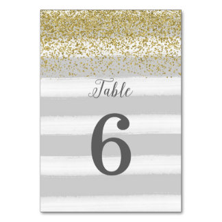 Gray and Gold Wedding Table Number Card