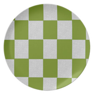 Gray and Green Checkered Plate