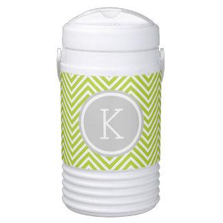 Gray and Green Chevron Custom Monogram Drinks Cooler