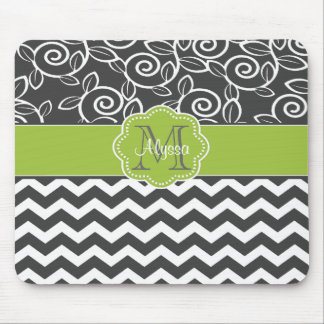 Gray and Green Chevron Personalized Mousepad