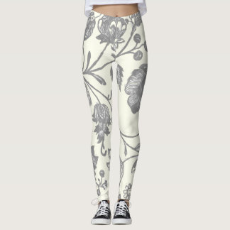 Gray and Ivory Vintage Boho Floral Leggings
