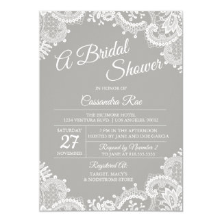 Gray and Lace Bridal Shower Invitation