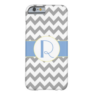Gray and Light Blue Chevron Striped Monogram Barely There iPhone 6 Case