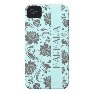 Gray And Light Blue Floral Damasks Monogram 3 iPhone 4 Case