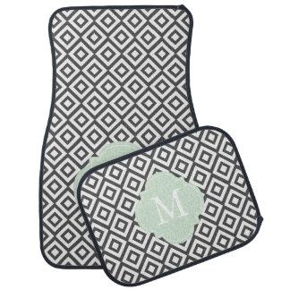 Gray and Light Green Monogram Diamonds Pattern Car Mat