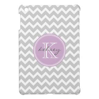 Gray and Lilac Purple Chevron Custom Monogram iPad Mini Case