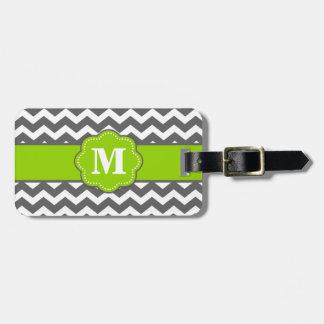 Gray and Lime Chevron Monoagram Luggage Tag