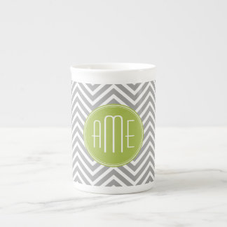 Gray and Lime Green Art Deco Monogram Tea Cup