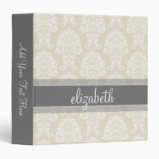 Gray and Linen Vintage Damask Pattern with Name 3 Ring Binder