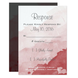 Gray and Maroon Wedding Invitaion RSVP Card