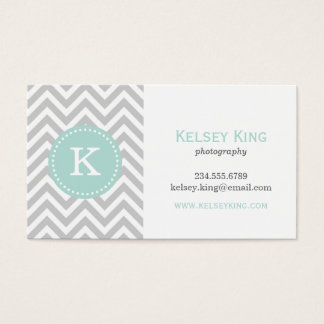 Gray and Mint Chevron Custom Monogram Business Card