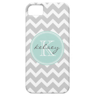 Gray and Mint Chevron Custom Monogram iPhone 5 Case
