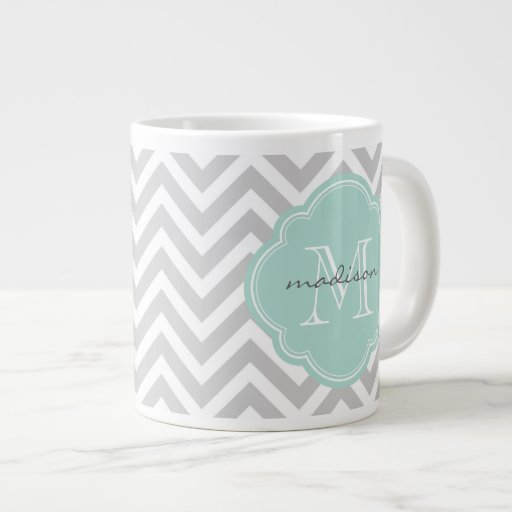 Gray and Mint Chevron Custom Monogram Jumbo Mug
