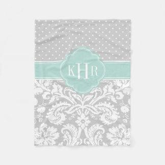 Gray and Mint Damask Polka Dots Monogram Fleece Blanket