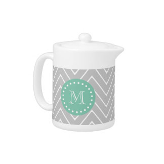 Gray and Mint Green Modern Chevron Monogram