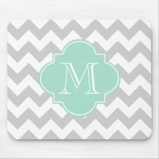 Gray and Mint Modern Chevron Custom Monogram Mouse Pad