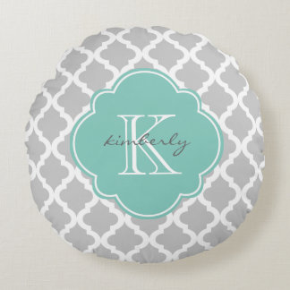 Gray and Mint Moroccan Quatrefoil Print Round Pillow