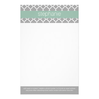 Gray and Mint Quatrefoil Pattern Custom Name Customized Stationery
