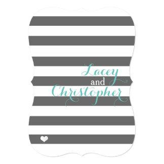 Gray and Mint Striped Invitation