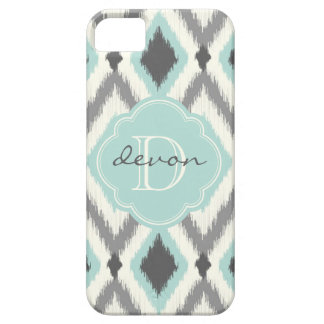 Gray and Mint Tribal Ikat Chevron Monogram iPhone 5 Case