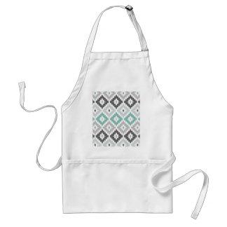 Gray and Mint Tribal Print Ikat Diamond Pattern Apron