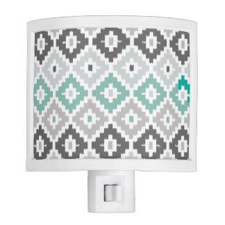 Gray and Mint Tribal Print Ikat Diamond Pattern Night Lights